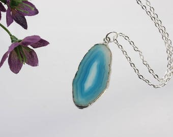 Small Blue Agate Necklace, Agate Pendant, Boho Jewelry, Boho, Layering Necklace, Silver Plated Agate Slice Jewelry, APS92