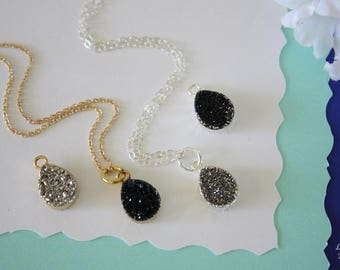 Tiny Silver Druzy Necklace, Tiny Gold Druzy, Crystal Necklace, Black Druzy Pendant, Sterling Silver, Gray Druzy Pendant, Natural Stone