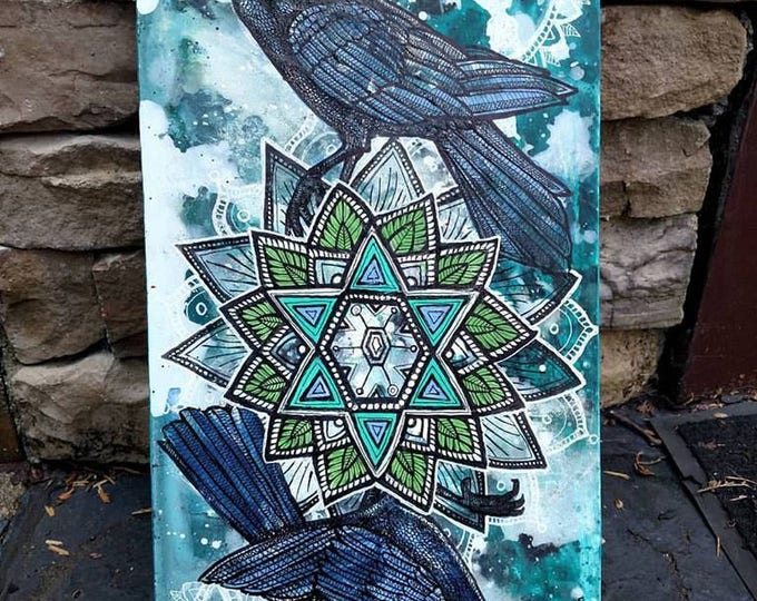 "Featured listing image: Original ""Snow Crows"" Corvid Winter Mandala Painting by Lynnette Shelley"