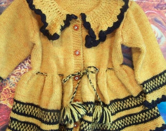 Vintage, Baby Sweater, Handmade, knit, crochet, sweater, Baby size, 1, 2
