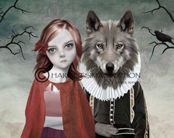 Fairytale Art Print - Red Riding Hood And Wolf - Red
