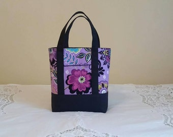 New BIBLE TOTE Bible Bag Perfect Size for your Bible, Journal, Pens, Study guides. Purple floral with black canvas base and straps