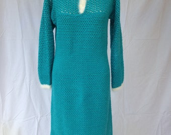 Vintage 1950's 1960's Turquoise Sweater Dress SM/M