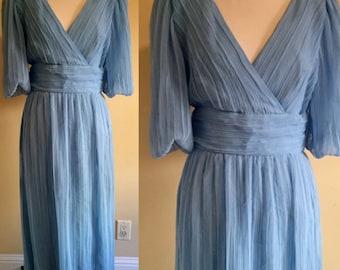 Blue Chiffon Dress, Vintage Miss Elliette California Dress, Blue Chiffon 1960s Dress Full Length Deep V Neck Dress Size Large on SALE