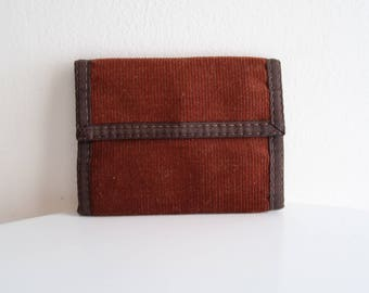 Two tone rust brown 70s / 80s retro corduroy VELCRO wallet UNISEX OS