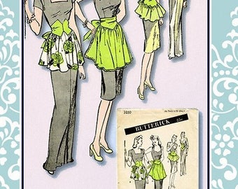 Vintage 1940s-GLAMOUROUS HOSTESS APRONS-Sewing Pattern-Four Fancy Styles-Ruffles-Shaped Midriff-Scallop Detail-Tie-Back Bow-One Size-Rare