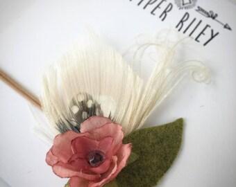 feather headband, boho baby headband, rustic headband, boho hair clip, flower hair clip, flower hair piece, boho baby apparel, peacock hair
