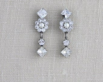 Swarovski crystal earrings, Bridal earrings, Wedding earrings, Wedding jewelry, Rhinestone earrings, Vintage earrings, Antique silver