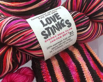 Handpainted Self-Striping Sock Yarn with matching mini skein - LOVE STINKS