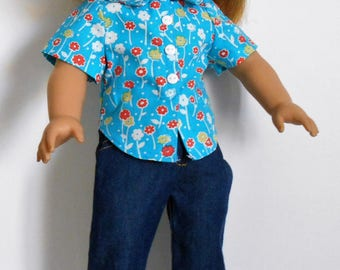 """SewQT jeans, cotton floral print top and gold tone sandals fit 18"""" dolls like American Girl"""