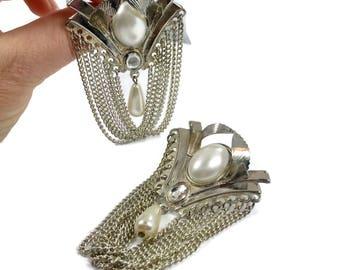 Silver Earrings, Vintage Earrings, Retro, 1980s, 80s, Huge, Chains, Door Knocker, Big Statement, Massive, Pierced, Faux Pearls, Oversized