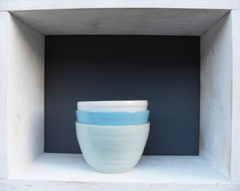 3x Smallish Bowls in three different shades of Blue, Green and White Celadon glazes