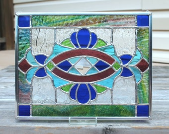 Cobalt Blue, Sky Blue, Bright Green and Red Violet Purple Stained Glass Panel