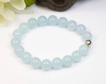 Aquamarine Bracelet - Stretch Bracelet - Stackable Bracelet - Gemstone Beaded Bracelet - Womens Bracelet - Gift