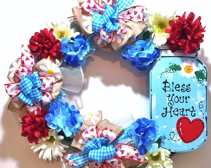 FREE SHIPPING Mason Jar Bless Your Heart Flowers Red White Blue - Welcome Door Grapevine Wreath