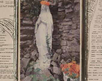 Mary, Stone, Grotto, Unique, Affordable, Art, Small, 5 x 7, Wood Panel