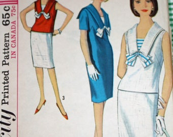 Vintage 1960s Sewing Pattern, Simplicity 5840, Misses' One-Piece Dress or Overblouse and Skirt, Misses' Size 14, Bust 34""