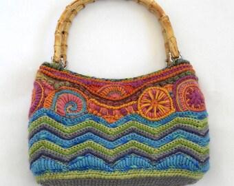 Freeform Crochet Handbag, OOAK  Handbag Tote, Medium Handbag, OOAK Women's Crochet handbag