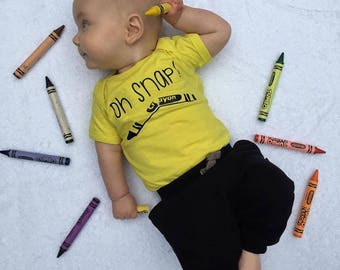 Oh snap one-piece. Ready to ship. Funny baby one-piece. Broken crayon one-piece. Cute baby one-piece. Ready to Ship!