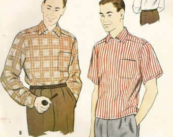 Vintage 50s McCalls 3087 Midcentury Mens Pullover Sports Shirt Sewing Pattern