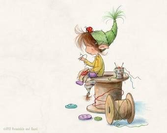 Calico Willowmoss - Sock Thief - Elf Art - Art Print
