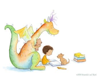 Boy with Curly Brown Hair Reading to Red and Green Dragon - Art Print - Children