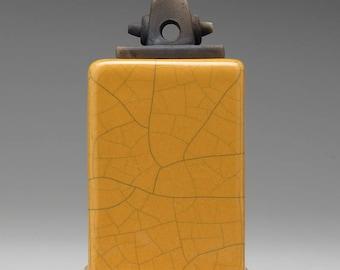 Ceramic handmade box, yellow crackle, white and black, Ceramic box, raku, box