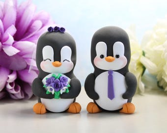 Unique Penguin wedding cake toppers - bride and groom figurines personalized black white purple elegant cute wedding gift anniversary