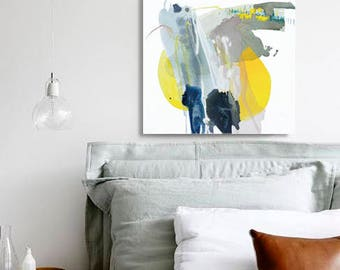 "Abstract Mountain Intuitive Painting, Original Art, purple, green, navy, blue, yellow 25 x 25"" -- ""Mountain II"" modern canvas, Appalachia"