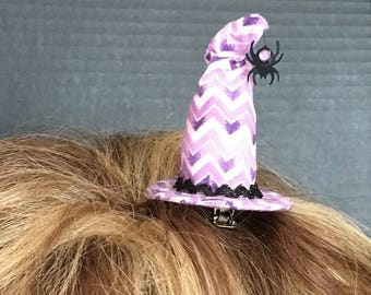 Mini Witch Hat with spider - purple chevron