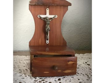 Vintage Wood Altar Box Plastic Crucifix  Pull Out Drawer