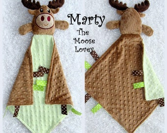 Marty The Moose Lovey* By Lovablekreations * Free Personalization* Unique Baby Boy Gift* Ultra Soft Minky* AKA Lovie lovey lovy Blankie