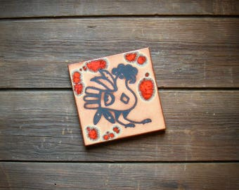 Vintage Handmade Red Clay Pottery Rooster Tile Wall Hanging Trivet or Hot Plate