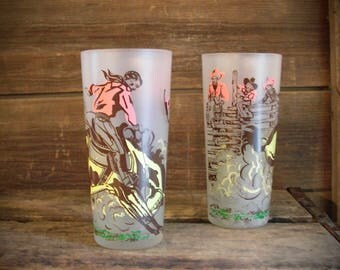 Vintage Set of Two 50's Retro Cowboy or Western Frosted Drinking Glasses