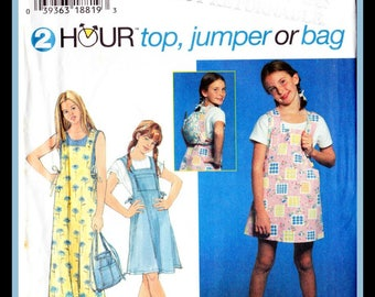 Girls 2 Hour Top. Jumper and Bag - Simplicity 7086 Size 7, 8  & 10