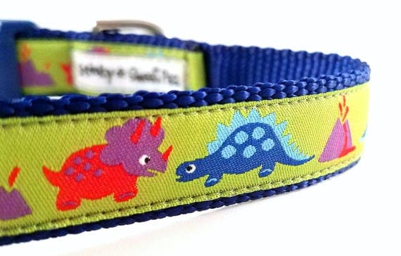 The Prehistoric Pup Dog Collar / Adjustable / Dinosaurs / Dinosaur Dog Collar / Dog Collar / Volcanos / Handmade