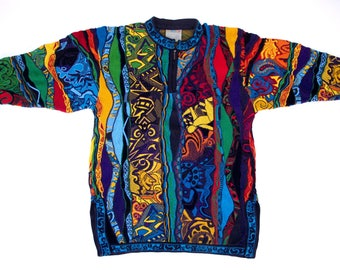 COOGI Australia Womens M L Multi Color FACES Fish Sweater Geometrics Colorful Tunic 1/4 Zip Crewneck sweater Unisex Fits Medium 3D Art Knit