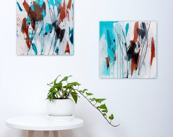 Original Abstract Diptych, Square Paintings, Abstract Expressionism, black white turquoise sepia - Meditations on Serious Play