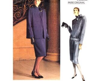 Loose Jacket & Dress Pattern Vogue 1769 Givenchy Paris Original Band Collar Dress Womens Size 12 Sewing Pattern UNCUT