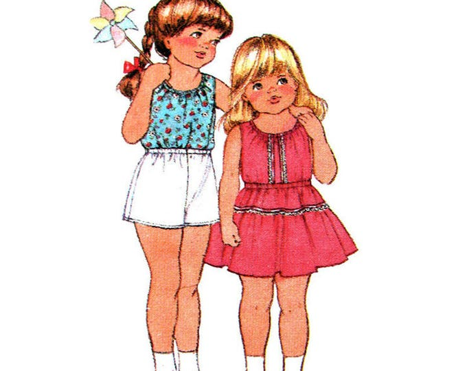 Girls Sewing Pattern Tank Top, Flared Skirt, Pull On Shorts Simplicity 9990 Size 5
