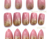 Glitter Ombre Nails | Short Press On Nails | Pink Fake Nails | Gold Glitter Gradation Nails | Pink and Gold Ombre  Stiletto Square Nails
