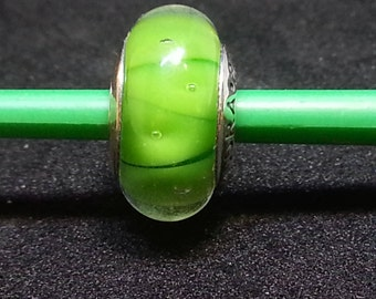 Pandora Murano Green Looking glass charm bead # 790925+ Pocket box~ RETIRED~DAMAGED