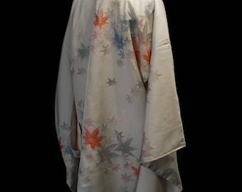 Original vintage 1950s ivory kimono jacket with sparkling pastel woven leaves