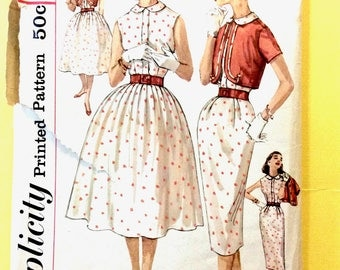 Simplicity 2559 1950s dress pattern  fitted bodice, full or slim skirt and a cropped jacket, bolero Vintage Sewing Pattern Bust 32