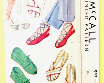 McCall 993 Soft Slippers in Sandal and Moccasin Style  c. 1942 Vintage Sewing Pattern  Size 6.5 7 and 7.5