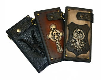 Leather wallet men Mens wallet personalized Satan Chain wallet Biker wallet Skull wallet Baphomet Mens wallet phone case Mens wallet chain
