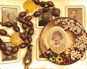 """Vintage Photo Mirror Necklace """"Old Library"""""""