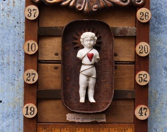"Assemblage Art Shrine Found Object Mixed Media Vignette ""Live in your strength"""