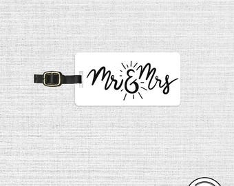 Luggage Tag Mr and Mrs Personalized Luggage Tag  Metal Luggage Tag  Custom Info On Back, Single Tag