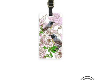 Luggage Tag Spring time Birds Floral Metal Tag Personalized Single Tag